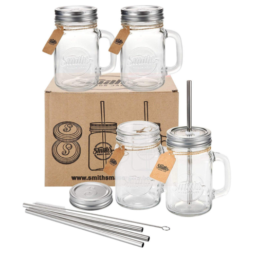 mason jars with straws