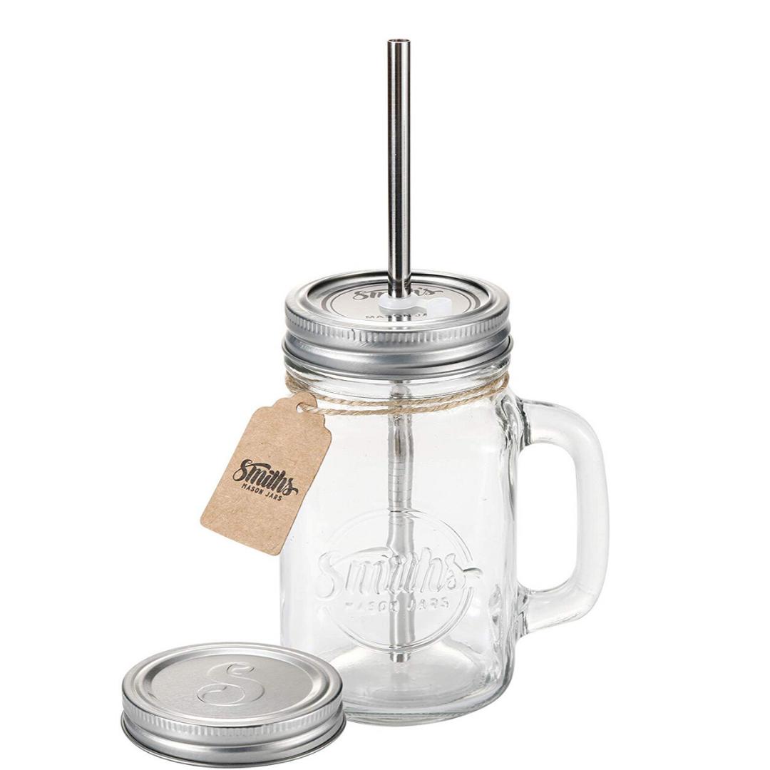 mason jars with straws