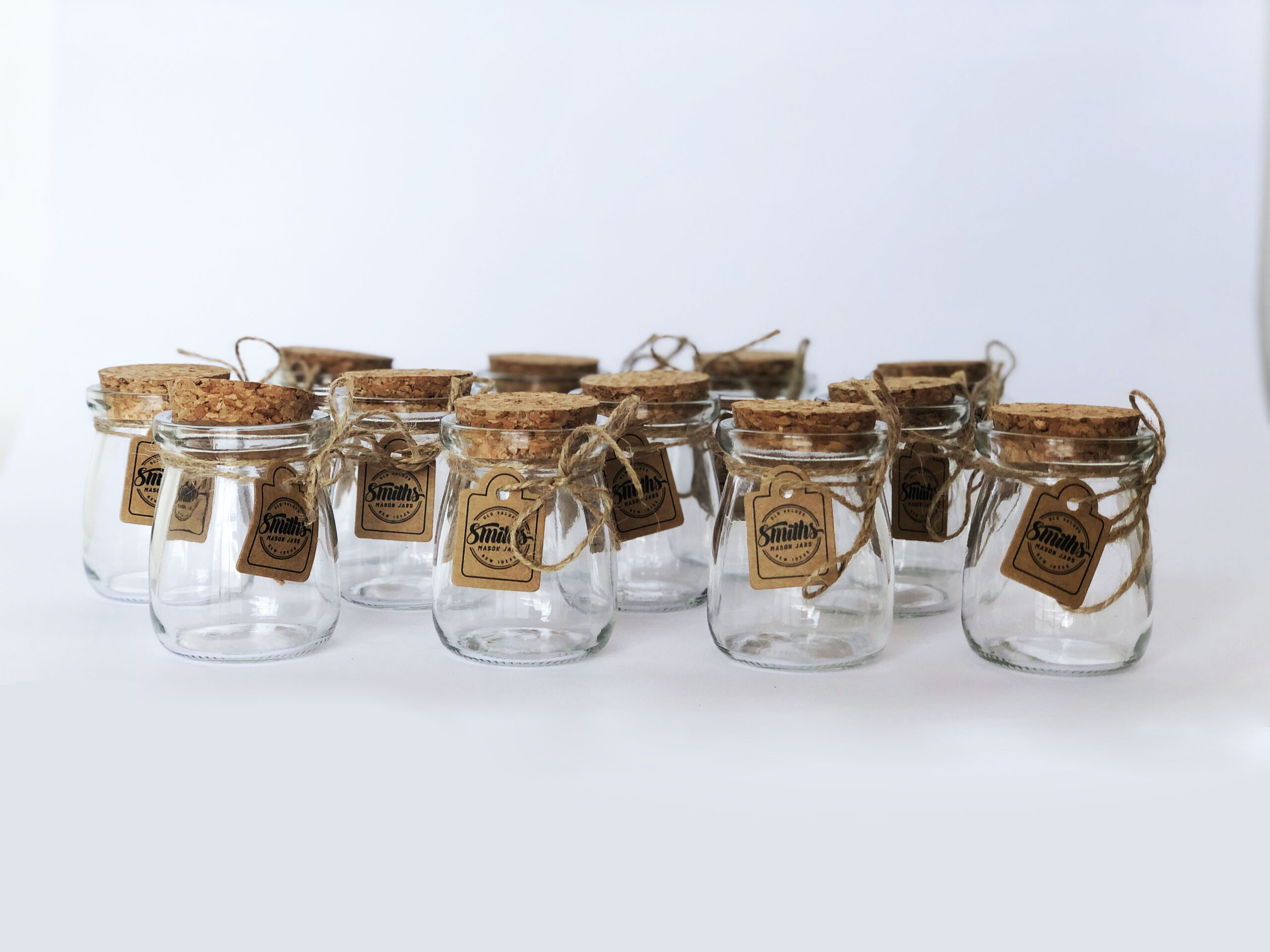 Set of 12 – Smith's Mason Jars 100mL Short Pudding Bowl with Cork Lids – Great for Food Storage, Arts and Crafts, Candles, Giveaways, Tealight Candle Holders, Spices, Nuts, and More